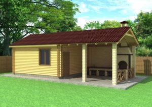 Проекты бани с террасой, барбекю и комнатой отдыха