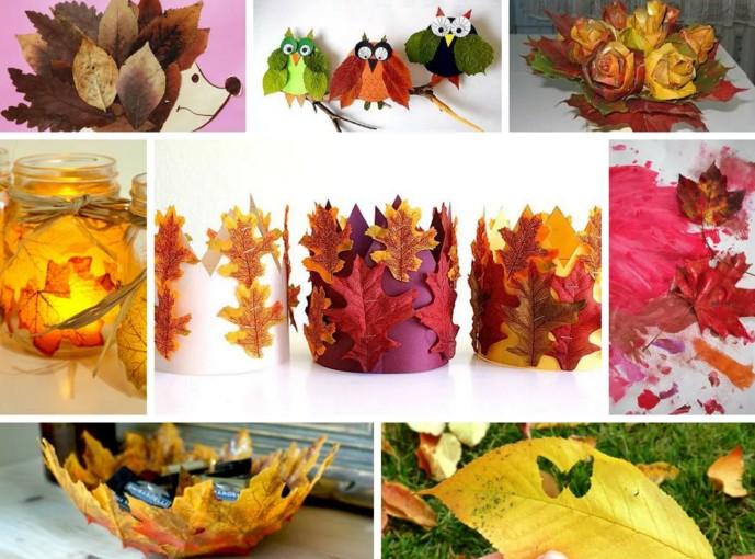композиция из осенних листьев на бумаге
