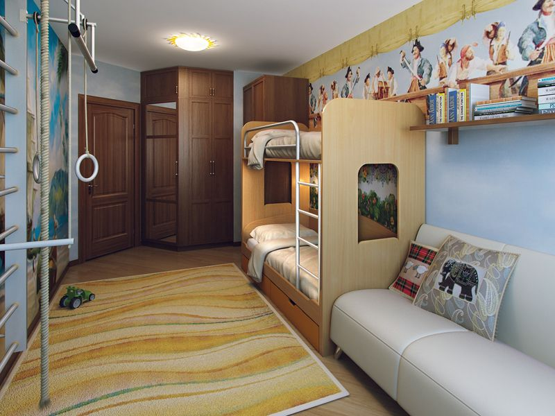 Кровать для троих детей в одной комнате (19 фото) - реальные варианты