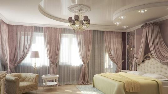 Натяжные потолки для зала: в жилом доме фото в интерьерах, двухуровневые, с фотопечатью