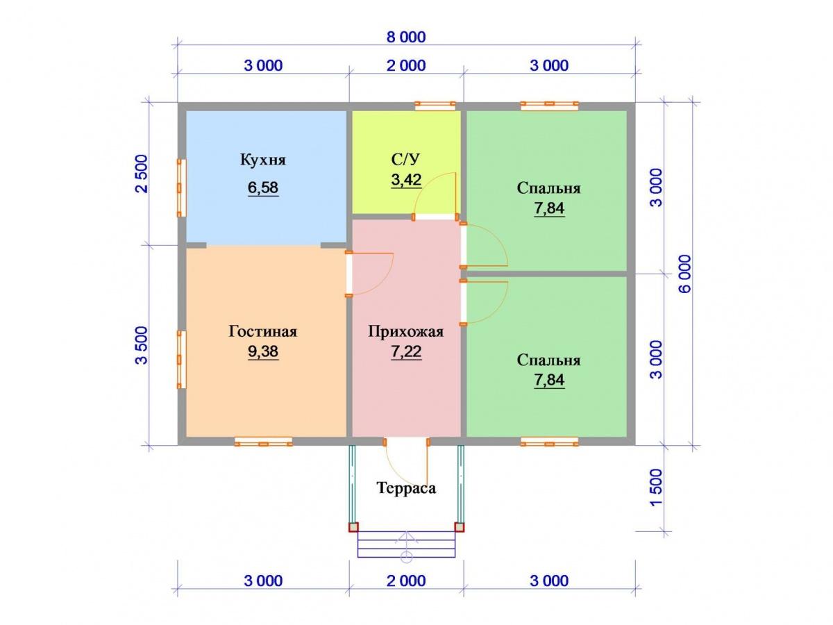 Проект дома 7 на 7: планировка одноэтажного строения из профилированного бруса, каркаса, газобетона, кирпича, пеноблоков, коттеджи с эркером
