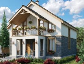Деревянный дом с панорамными окнами. фото под ключпроект «на опушке» от гк «городлес»