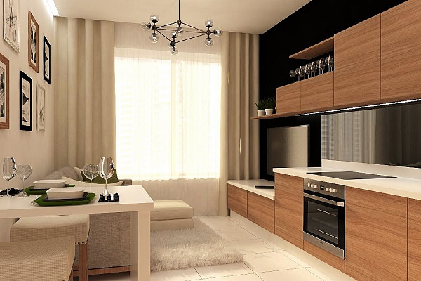 Кухня-студия (114 фото): дизайн интерьера комнаты в квартире, угловая кухня в доме, проекты планировки кухни-студии с кухонным гарнитуром, варианты оформления в современных стилях