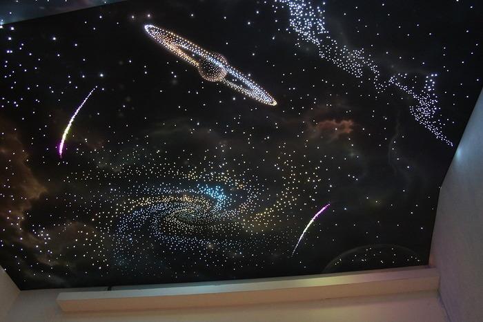 Натяжной потолок звездное небо с 3d эффектом своими руками: инструкция, видео- и фото-уроки