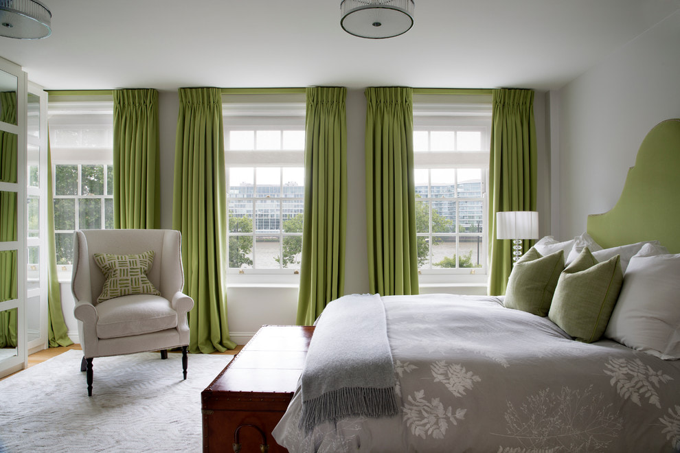 Оливковые шторы в интерьере - 70 фото дизайна