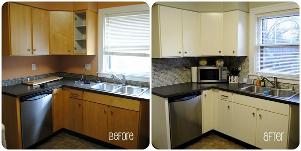 Замена кухонных фасадов и столешниц: фото до и после