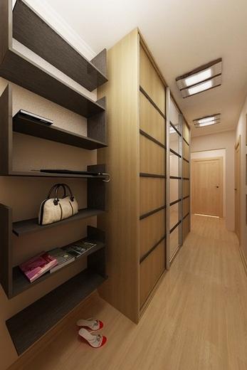 Прихожая для узкого коридора, дизайнерские решения, узкий шкаф купе в модульную прихожую