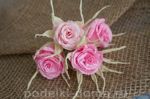 объемные цветы из гофрированной бумаги своими руками