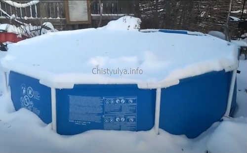 хранение каркасного бассейна зимой