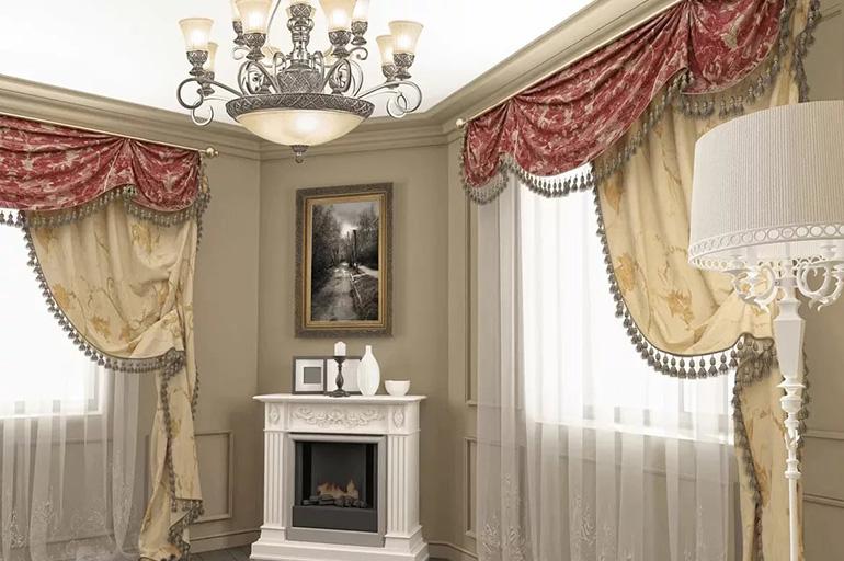 Шторы в гостиную: плотные однотонные, тройные, тюль, способы красиво повесить шторы в зале, варианты крепления к окну