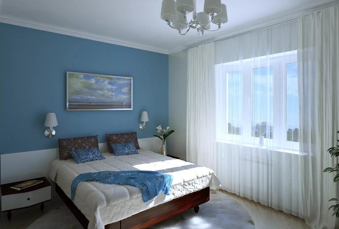 голубые шторы в гостиной фото