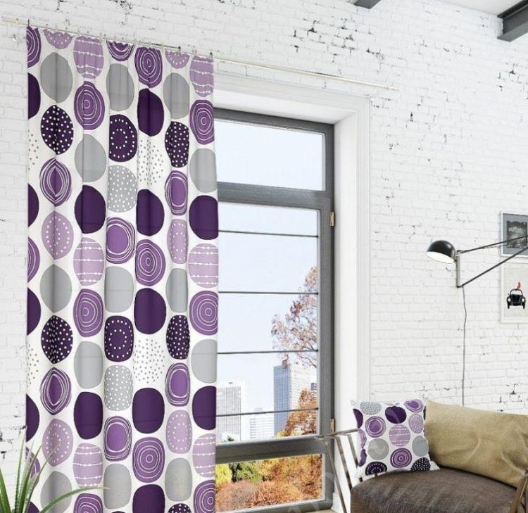 лиловые шторы в гостиной фото
