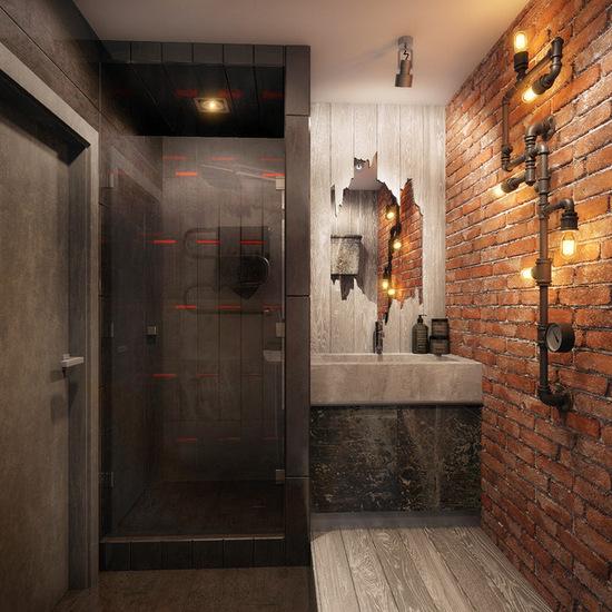 ванная в стиле лофт маленькая площадь
