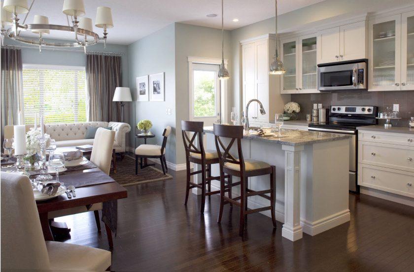 Зонирование кухни и гостиной перегородкой: разделение зон комнаты и кухни различными способами
