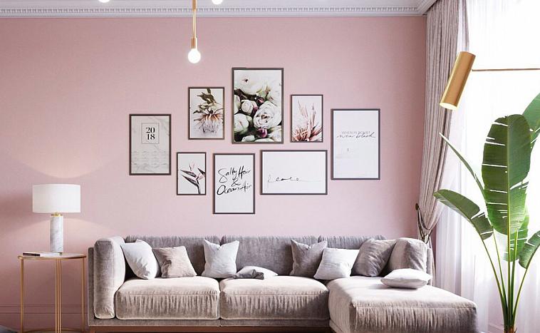 Розовые обои в интерьере спальни, кухни, гостиной, детской