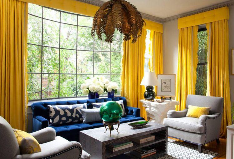 желтые шторы в гостиную фото