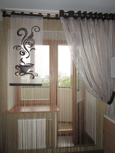 тюль на кухню с балконной дверью фото