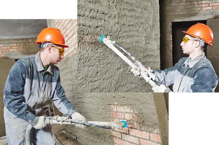 механизированная цементная штукатурка стен