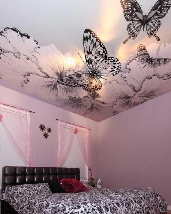 натяжные потолки с фотопечатью для спальни