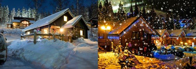 световое новогоднее оформление фасадов зданий