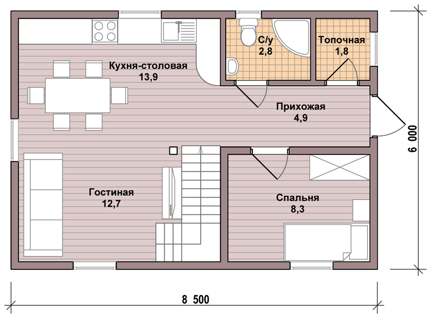 план дома 7 на 8