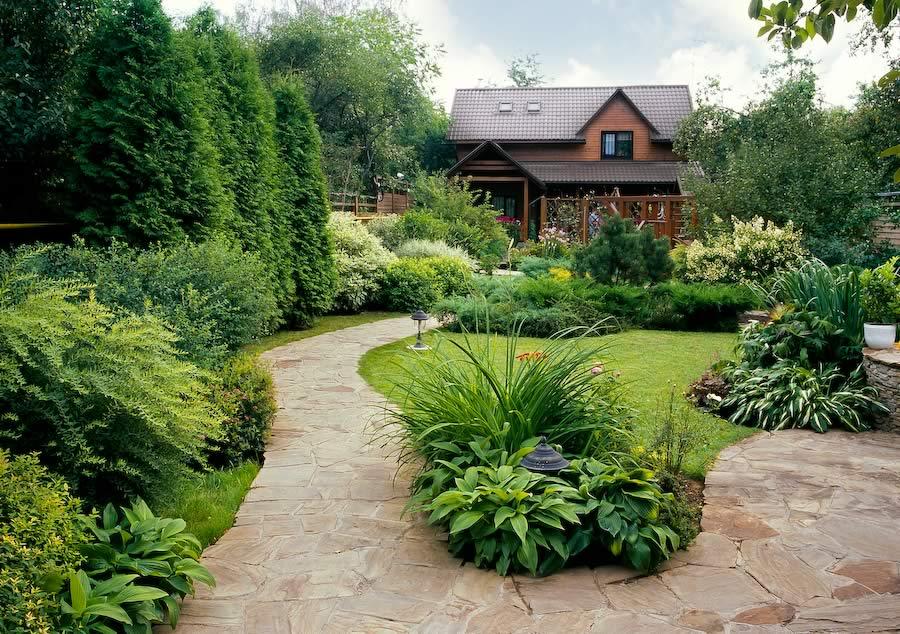 красивый ландшафтный дизайн загородного дома фото