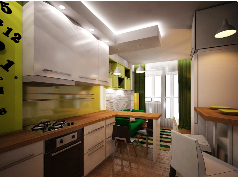 Дизайн кухни-гостиной площадью 16 кв. м.