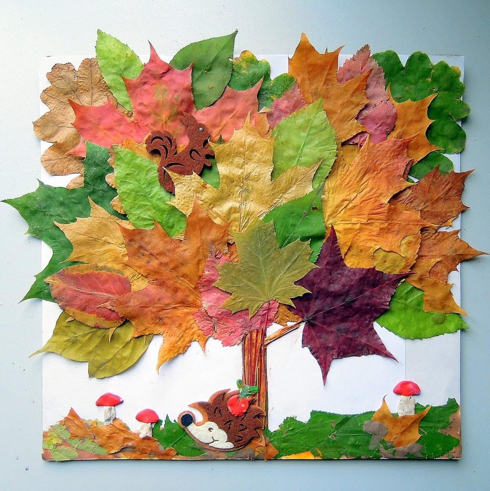 Осенние поделки из листьев деревьев - красиво и быстро! идеи для детского сада и школьников