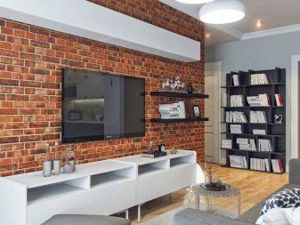 Кирпичная стена – изюминка современной гостиной