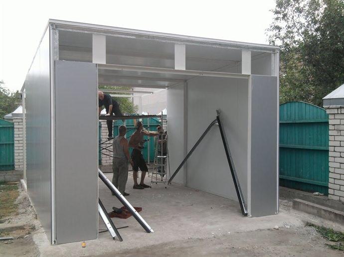 построить гараж из сэндвич панелей