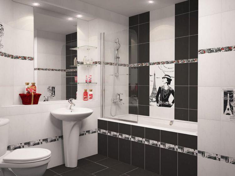 Черно белая ванная комната: красивые идеи (фото) | дом мечты