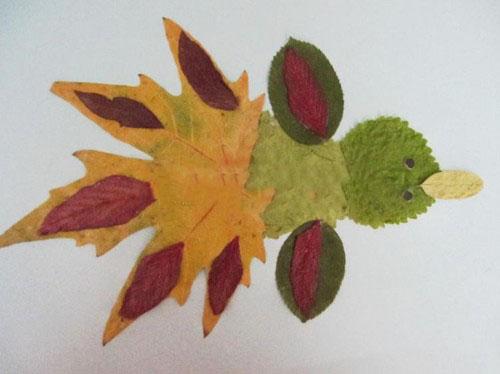 композиции из листьев на бумаге
