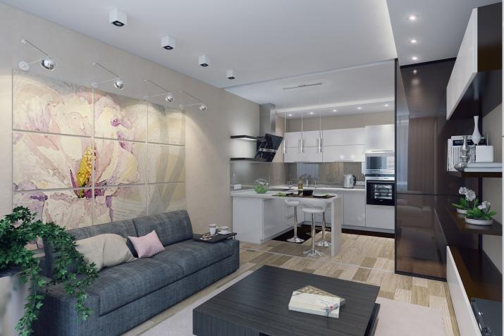 Кухня-гостиная 16 кв. м: варианты дизайна и планировки интерьера с фото