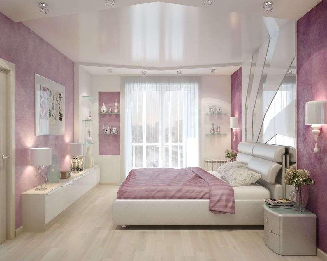 Розовые обои в интерьере спальни, гостиной, кухни - фото