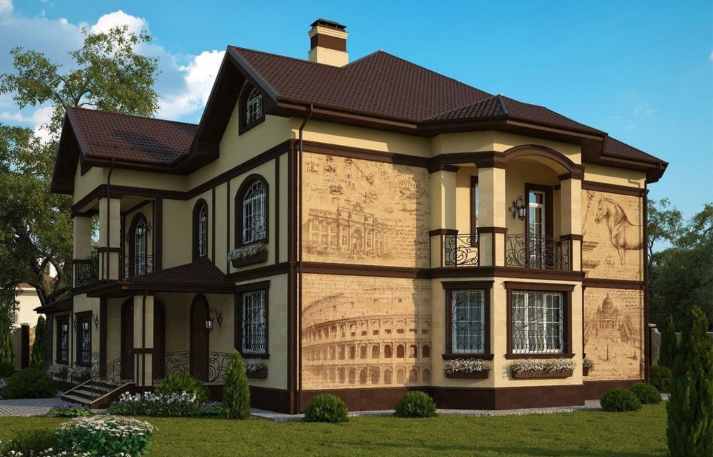 варианты фасадов частных домов