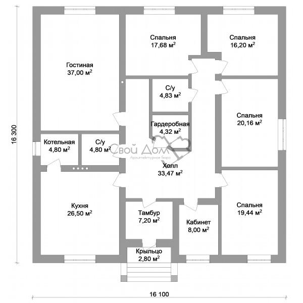 проект 1 этажного дома с 4 спальнями