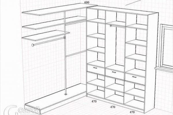 Гардеробная комната: планировка с размерами и варианты обустройства