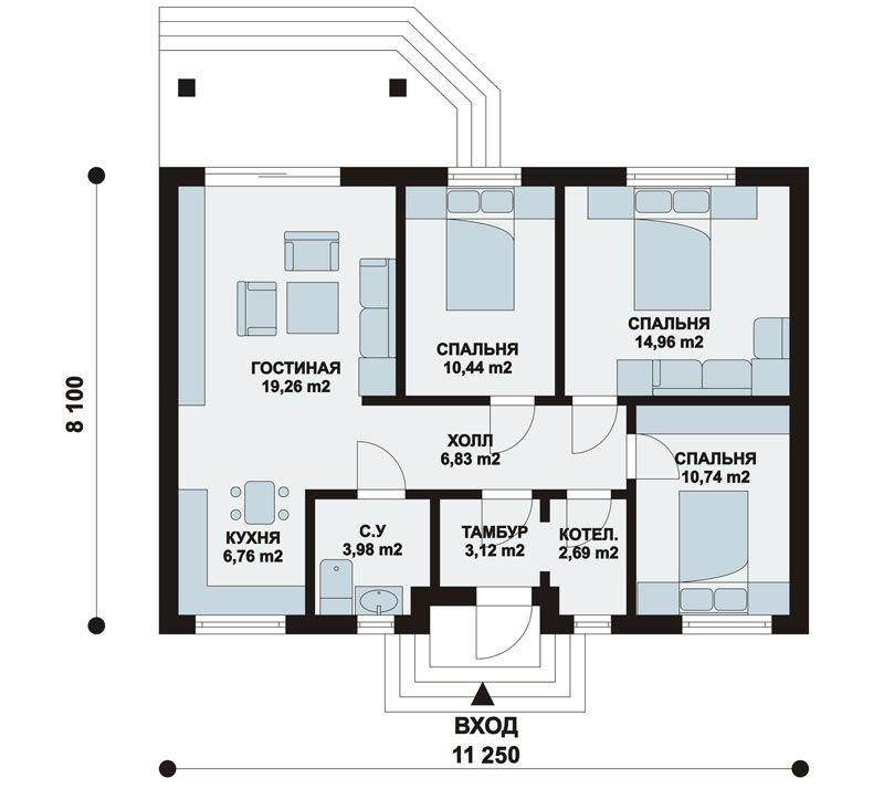 проекты одноэтажных домов бесплатно чертежи