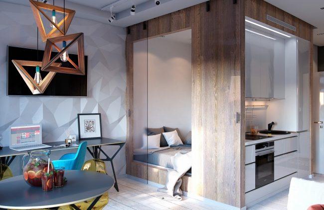 Дизайн студий 27 кв. м. с балконом (70 фото): дизайн маленьких квартир, планировка прямоугольной комнаты