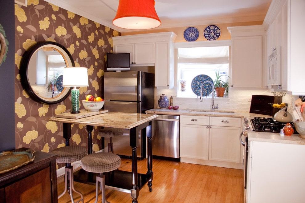 Комбинирование обоев на кухне: 100 красивых идей (фото)