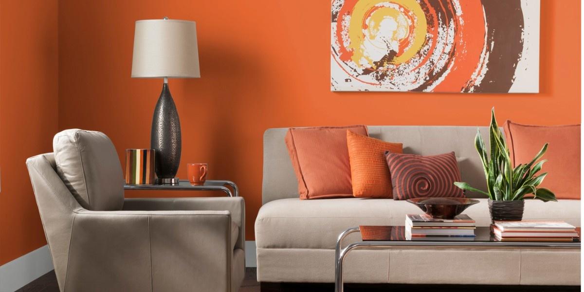 Дизайн гостиной в оранжевом цвете