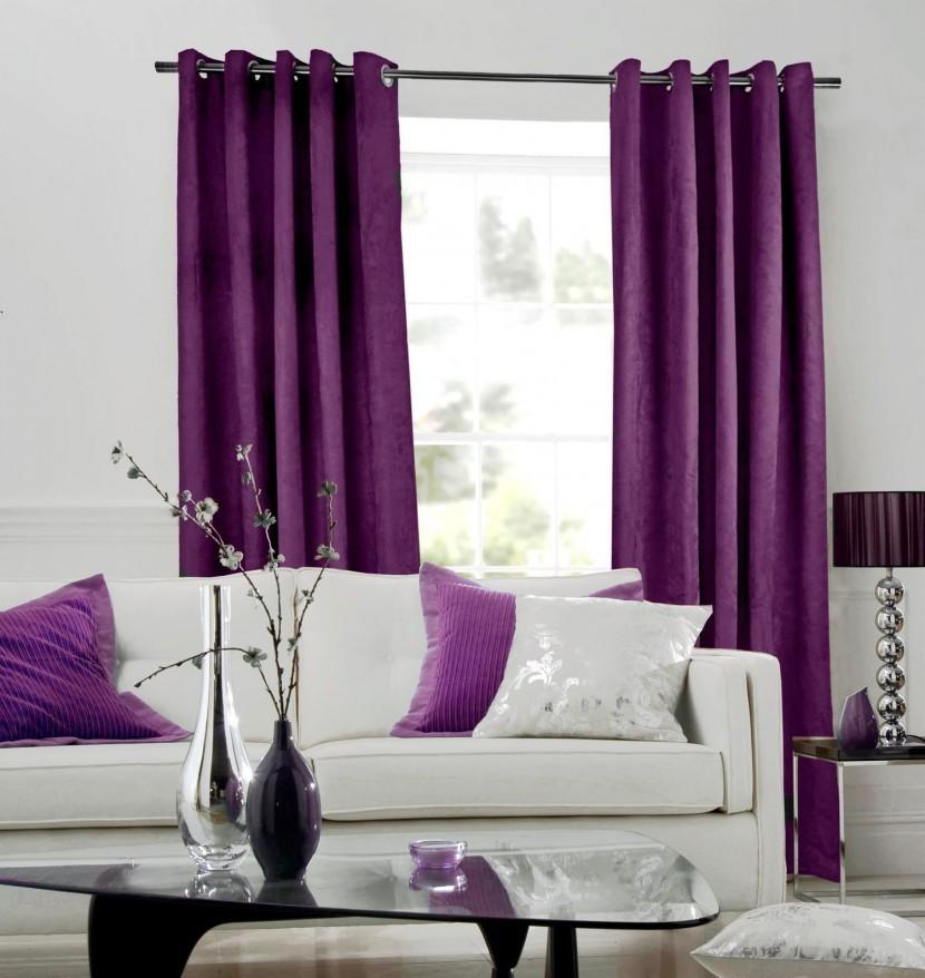 сиреневые шторы в спальню дизайн