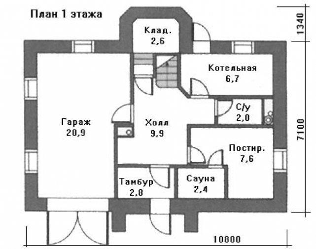 план одноэтажного дома с 4 спальнями