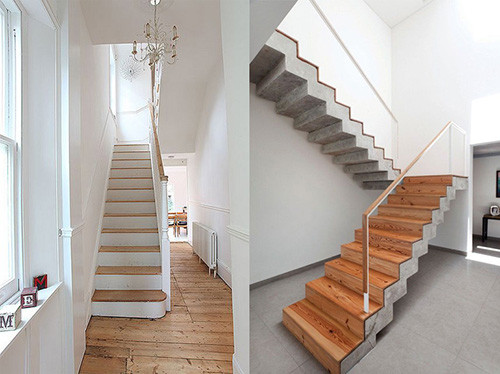 отделка лестницы из бетона деревом цена