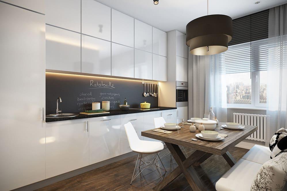 Прямая кухня 4 метра (58 фото): варианты дизайна кухонного гарнитура. как разместить линейный гарнитур с холодильником вдоль стен?