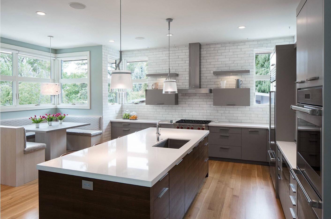 Дизайн кухни-столовой-гостиной в частном доме: 90 фото интерьеров, идеи