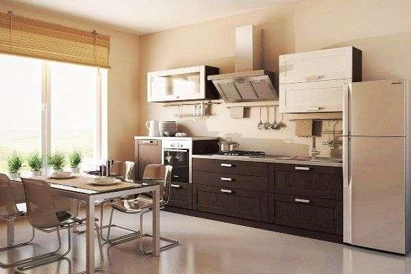 Дизайн стильной, современной, однорядной, прямой кухни: с холодильником, советы по выбору, фото.