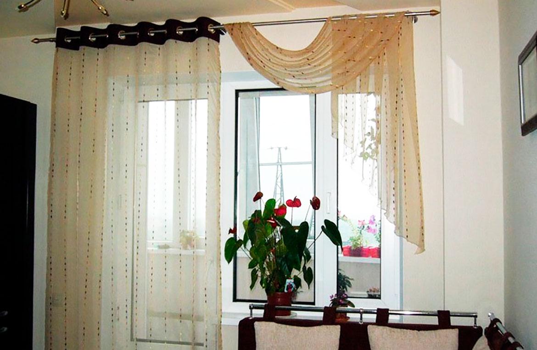 идеи штор для кухни с балконом