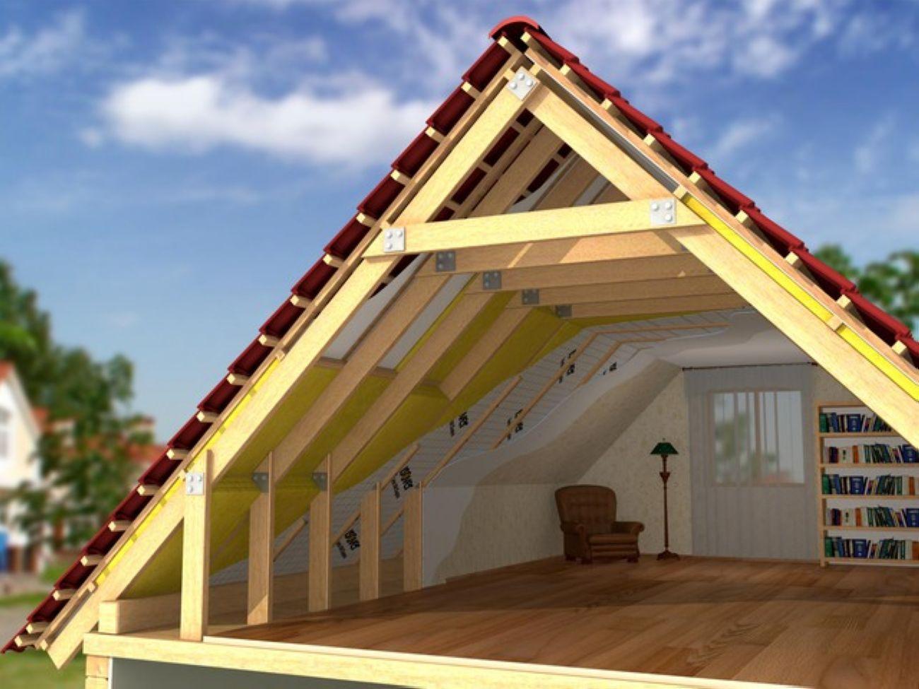 Красивый дизайн мансарды с двускатной крышей