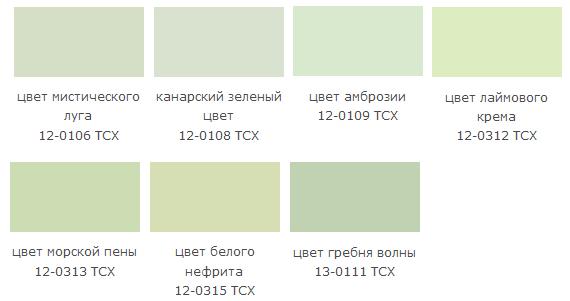 оттенки зеленого цвета названия и фото